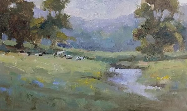 Oil painting of spring pasture
